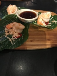 Prawn on a Betel leaf, peanuts, coconut, ginger & shallots, fresh cut chilli & warm tangy dressing
